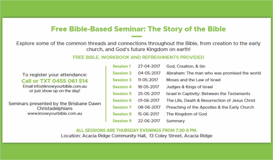 The Story of the Bible – Seminar Dates